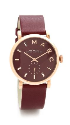 Burgundy + rose gold watch