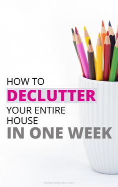 5 tips to declutter your house in one week or less. How to declutter your home when the mess is overwhelming. How to declutter when overwhelmed by the mess. The ultimate decluttering guide. How to declutter and organize a messy house. This is exactly what Home Organization Hacks, Organizing Your Home, Organizing Tips, Organising, Decluttering Ideas, Clutter Organization, Deep Cleaning Tips, Cleaning Hacks, Cleaning Checklist