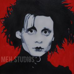 Edward Scissorhands Inspired Pop Art Painting 14x14 by MEHStudios, $100.00 Only One!!