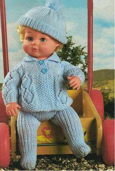 Items similar to Vintage Doll Clothes Premature Baby Knitting Pattern Little-Boy-Blue Pram Set, Preemie, Baby Doll Pull Ups Leggings Tiny Tears, Reborn on Etsy Knitting Dolls Clothes, Doll Clothes Patterns, Doll Patterns, Aran Knitting Patterns, Crochet Patterns, Crochet Football, Baby Born Clothes, Crochet Doll Dress, Little Boy Blue