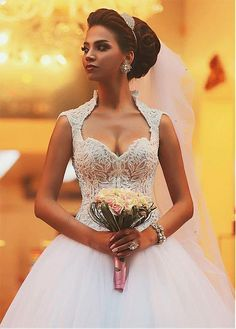 Buy discount Eye-catching Tulle & Satin Queen Anne Neckline Ball Gown Wedding Dresses With Embroidery & Beadings at Dressilyme.com