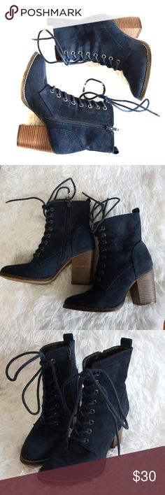 Candies | LaceUp Zip Down Ankle Heel Boot Brand: Candies Color: Navy Blue Size Type: TTS Material: Size (Women's): 9 Style: LaceUp Zip Down Ankle Boot Pic#5 shows normal wear of shoe from walking, minor trim fading. Boots still in great condition no scuffs or tares.  Buyers can expect: Careful packaging, Fast shipping, & Delivery confirmation with each item purchased! PET FREE HOME & SMOKE-FREE HOME. Please note: Due to lighting and monitors, the items colours may be slightly differ with the…