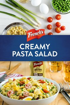 French's Spicy Brown Mustard is the secret ingredient in this Creamy Pasta Salad. Give your summer picnic or cookout an easy upgrade in only 20 minutes with this tangy side dish. Creamy Pasta Salads, Pasta Salad Recipes, Great Recipes, Dinner Recipes, Cooking Recipes, Healthy Recipes, Summer Salads, Soup And Salad, Pasta Dishes