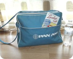 Vintage 60s PAN-AM Canvas Overnight Shoulder Bag Retro MOD Flight Carry On Stewardess Luggage Diaper Bag
