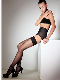 These semi-matte hold ups with beautiful lace top are perfect for any special occasion. Sandal toes and elegant look makes these the perfect choice. Nylons, Hold Ups, Sexy Legs, Floral Lace, Female Bodies, Hosiery, Tights, Ballet Skirt, Stockings