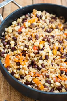 {Grilled corn salad with black beans and rice.}