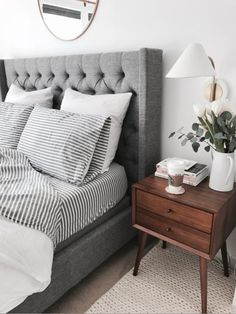 Grey upholstered bed || @liketoknow.it http://liketk.it/2qUuo #liketkit