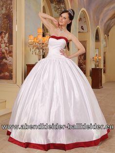 Weiss Rotes Sissi Kleid Brautkleid Boden Langes Ballkleid
