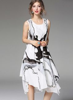 Cotton Others Sleeveless Mid-Calf Vintage Dresses