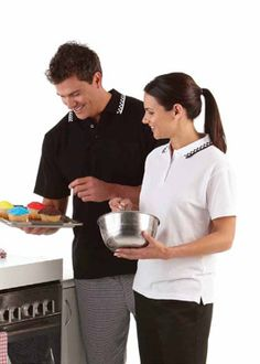 JB Chefs Polo with Directly hem and side divides, Comfort fit, Open sleeve cuffs, Comparison dual knit jacquard receiver.