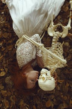 Katerina Plotnikova. Photography. Redhead. Skeleton. Embrace. Death. Beauty. Life. Fall. Autumn.