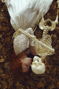 Katerina Plotnikova. Photography. Redhead. Skeleton. Embrace. Death. Beauty. Life. Fall. Autumn.