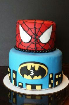 Batman and Spiderman cake @https://m.facebook.com/Imacakehead