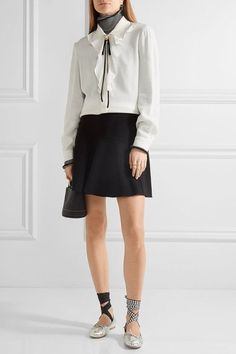 Miu Miu - Embellished Ruffled Silk-trimmed Crepe Blouse - White - IT36