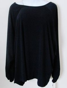 NEW Jockey Person to Person Size 3X Black Jersey Knit Top Split Shoulder Raglan  #Jockey #KnitTop #Casual