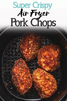You will love these easy keto and low carb boneless pork chops in the air fryer…. You will love these easy keto and low carb boneless pork chops in the air fryer. They are breaded in a pork rind crust and you will not believe how crispy they get! Air Fryer Recipes Breakfast, Air Fryer Oven Recipes, Air Frier Recipes, Air Fryer Dinner Recipes, Air Fryer Recipes Pork Chops, Air Fry Pork Chops, Breaded Pork Chops, Boneless Pork Chops, Paleo Pork Chops