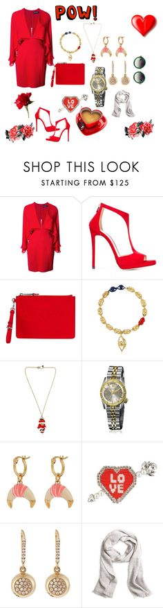 """""""Red power..."""" by jamuna-kaalla ❤ liked on Polyvore featuring Haney, Jimmy Choo, Moschino, Virzi+De Luca, Sonia Boyajian, March LA.B, Aurélie Bidermann, Shourouk, Brooks Brothers and vintage"""