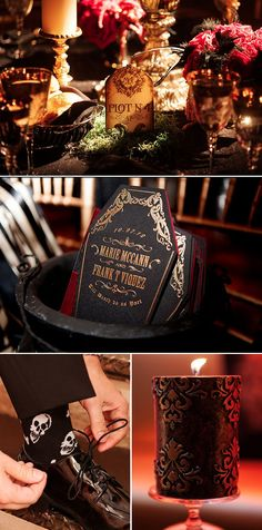 I love the tombstone table markers :)
