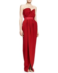 Silk Strapless Sweetheart Gown, Carmine Red by Lanvin at Neiman Marcus.