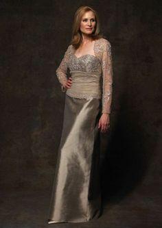 87767e602995 Sweetheart Lace Jacket Satin Mother of the Bride Dress-Dressfame.com Mob  Dresses