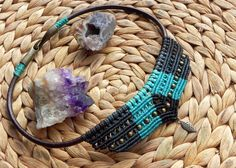 macrame necklace in black and green hues boho hippie by QuetzArt                                                                                                                                                                                 More