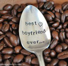 Best Boyfriend Ever - Hand Stamped Vintage Coffee Spoon