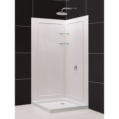 32 inch corner shower stall kits. Shop DreamLine White Acrylic Wall Floor Square 3 Piece Corner  Shower Kit Actual Utile 32 Inch x 48 Stall in Metro Ash Grey