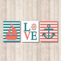 Nautical Nursery Wall Art Coral Teal Sailboat by LovelyFaceDesigns,