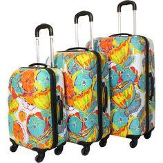 Dejuno Flowers 3-Piece Lightweight Hardside Luggage Set - eBags.com