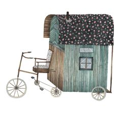 Clearly I need to create this bicycle propelled gypsy wagon. Genius. And it's my favorite color...so I'll take it as yet another sign I should pack my bags and hit the road as a world-travelling gypsy.  -Illustrations by Anna Emilia Laitinen
