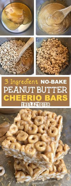 3 Ingredient No Bake Peanut Butter Cheerio Bars - A healthy snack or treat made with honey, peanut butter and Cheerios! A quick and easy kids snack idea. The Lazy Dish snacks 3 Ingredient Peanut Butter Cheerio Bars - The Lazy Dish Yummy Snacks, Delicious Desserts, Yummy Food, No Bake Snacks, Diy Snacks, Peanut Butter Cheerio Bars, Peanut Butter Healthy Snacks, Simple Healthy Snacks, Healthy Desserts For Kids