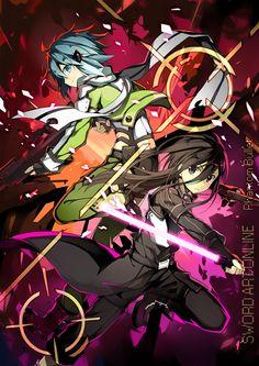 Sinon and Kirito _Sword Art Online Asuna, Sinon Ggo, Kirito Sword, Sword Art Online Kirito, Manga Anime, Sao Anime, Online Anime, Online Art, Shino Sao