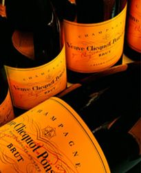Veuve Clicquot - champagne tied with a ribbon, always appreciated ; Veuve Clicquot, Champagne Bottles, Mimosas, Wine Time, Summer Parties, High Tea, Orange, Yellow, Hostess Gifts