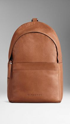Grainy leather backpack with single strap by Burberry
