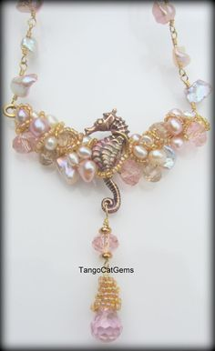 Rose Water Seahorse Necklace by TangoCatGems on Etsy, $146.00