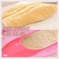 Wish | (QTY: 2 Pairs) Autumn and Winter Warm Insoles Men and Women Wool Insole Thickening Cashmere Insoles Pad(size:5-9.5)