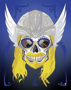 """""""Thor"""" Sugar Skull Print inspired by the characters from the Marvel comics and movies Sugar Skull Art, Sugar Skulls, Candy Skulls, Marvel Tattoos, The Avengers, Skull Print, Skull And Bones, Print Artist, Held"""