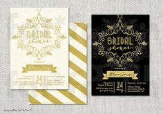 Bridal Shower Invitation Art Deco Flourish Frame Party by fatfatin