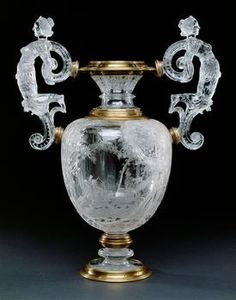 Fabulous carved rock crystal and silver gilt vase with remains of enamel by Miseroni, Milan, Italy 16th-17th Cent.