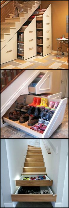 Although stairs are a practical necessity in anything other than a single story home, it doesn't mean they can't be multi-functional. Here are 33 ideas on how you can use the space under your staircase http://ideas2live4.com/2015/08/28/under-the-staircase/ Do you need extra storage space? (Is there any home that doesn't?) #spacesavingfurniture