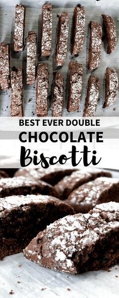 An easy Double Chocolate Biscotti Recipe that is perfect to serve with coffee or share as gifts during the holidays. Double Chocolate Biscotti Recipe, Chocolate Flavors, Chocolate Recipes, Healthy Biscotti Recipe, Italian Biscotti Recipe, Chocolate Biscuit Recipe, Lemon Biscotti, Biscotti Cookies, Easy Desserts