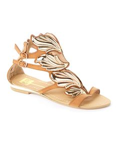 Look at this Camel & Gold Tessa Gladiator Sandal on #zulily today!