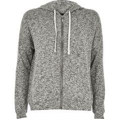 River Island Grey slouchy hoodie (€55) ❤ liked on Polyvore featuring tops, hoodies, sweatshirts, hooded sweatshirt, zip up hoodies, tall tops, zip up hoodie and sweatshirt hoodies