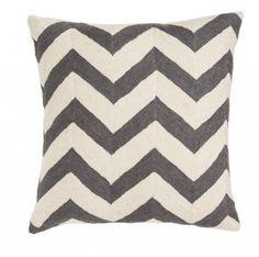 Zig Zag Grey Cushion - Trouva