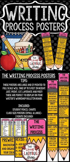 Writing Process Pencil Posters 2 Sets of the Posters are included in this set for you to display in your classroom. I used these charts and used clothes pins with students names to move down the chart as they were writing in the Process.
