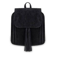 Yoins Black Fringe Backpack with Foldover Flap