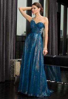 Metallic Chiffon Pleated One Shoulder Dress