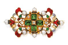 Gold, Tourmaline, Diamond, Seed Pearl and Enamel Brooch, Carlo Giuliano, Circa 1870  Estimate: 5,000 – 7,000 USD  Of openwork design set with four emerald-cut tourmalines, accented by old mine and single-cut diamonds, bordered by seed pearls measuring approximately 3.4 to 3.7 mm, heightened with enamelwork in foliate and scrollwork motifs, stamped C.G.