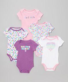 Another great find on #zulily! Calvin Klein Underwear Purple & Pink Letter Bodysuit Set by Calvin Klein Underwear #zulilyfinds