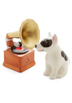 Look at This Phonograph Shaker Set | Turn the tables on the typical salt and pepper shakers by displaying this vintage-inspired pair by One Hundred 80 Degrees near your place setting. This duo is of an iconic dog listening to a wind-up gramophone is soon to be the ceramic trademark of your breakfast nook.